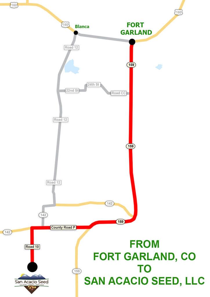 Fort Garland, CO to San Acacio Seed LLC Map