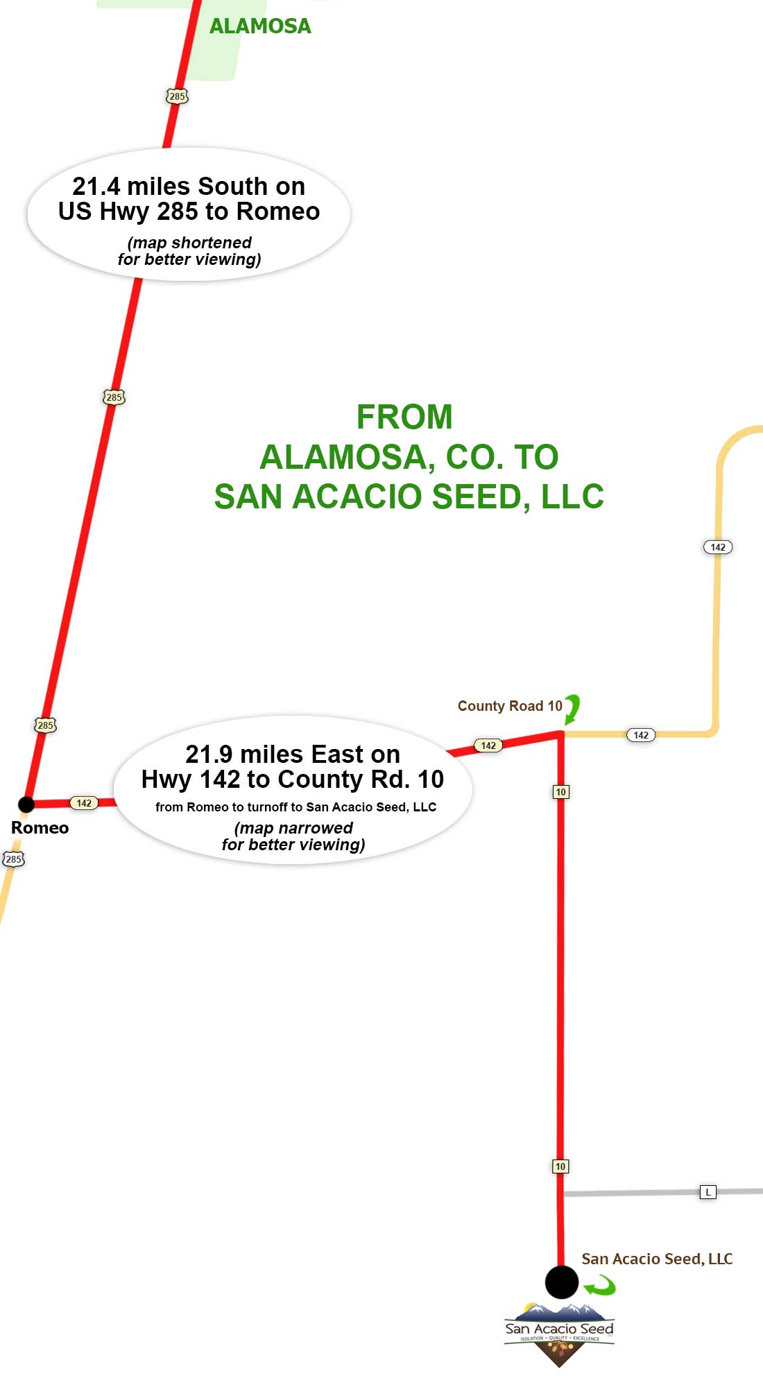 Alamosa, Colorado to San Acacio Seed, LLC